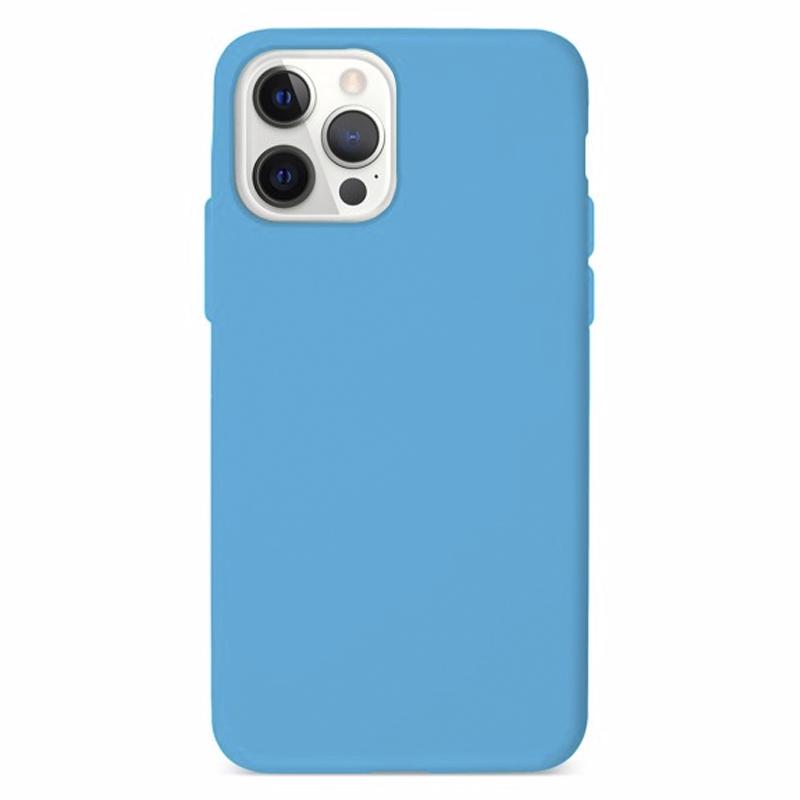 Funda Silicona Suave Azul<br>iPhone 12/12 Pro
