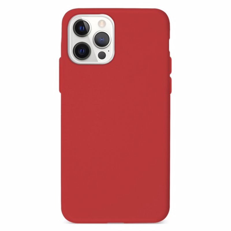 Funda Silicona Suave Roja<br>iPhone 12/12 Pro