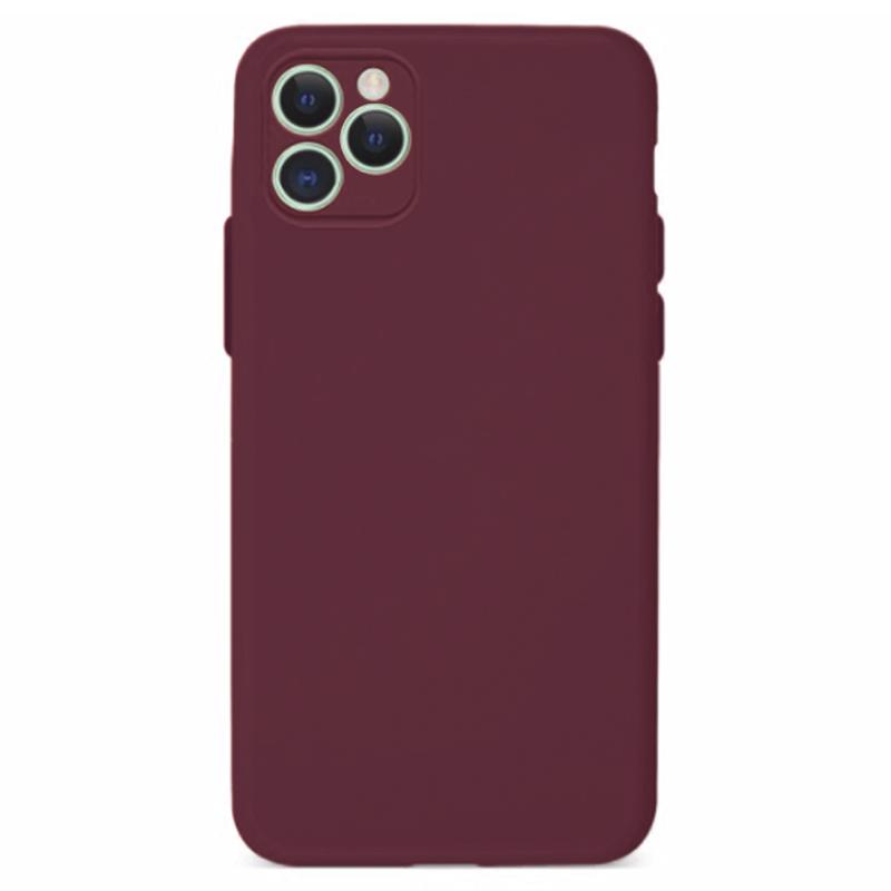 Funda Silicona Suave Rojo Vino <br>con cámara cubierta <br>iPhone 12 Pro Max
