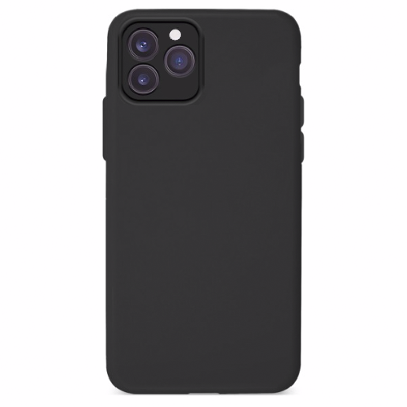 Funda Silicona Suave Negra <br>con cámara cubierta <br>iPhone 12 Pro Max